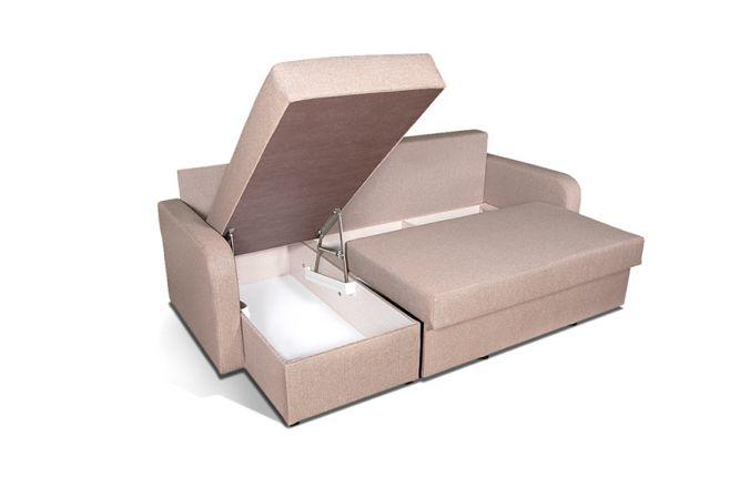 Угловой диван–еврокнижка Домино. Ящик для белья