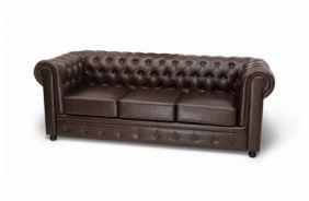 Прямой кожаный диван Честер. Choco