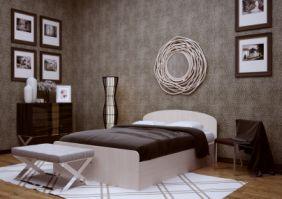 Кровать с кромкой (сп. место 2х0.9 м). ЛДСП. Кромка ПВХ 0,4 мм.