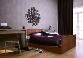 Кровать со штапиком (сп. место 2х1.2 м). ЛДСП. Декор штапик.